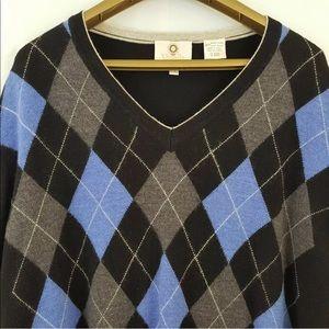 Viyella Sweater Argyle Merino Wool Long Sleeves